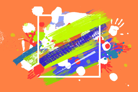 holi: Bright color Vector Paint Splashes. Indian Holi Festival Background in square frame.