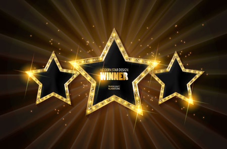 Winner. Retro light sign. Three gold stars on brown curtain background with rays. Vintage style banner. Vector illustration