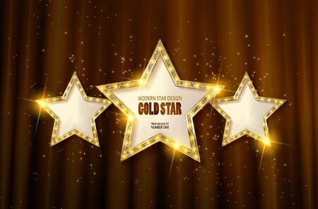 Retro light sign. Three gold stars on brown curtain background with rays. Vintage style banner. Vector illustration
