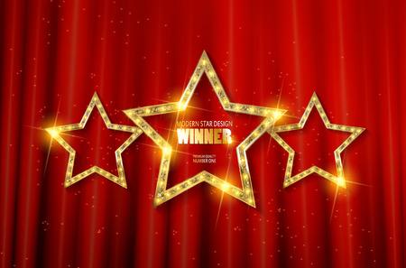 Ganador. Retro signo de luz. Tres estrellas de oro sobre fondo de cortina roja con rayos. Bandera de estilo vintage. Ilustración del vector