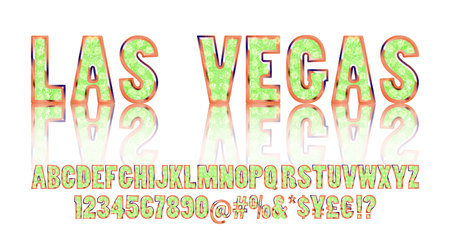 platinum: Las Vegas. Color Golden alphabet with show lamps. Vector illustration. You can use it for web-pages and banners, poster, cards and other. Isolated on a white background.