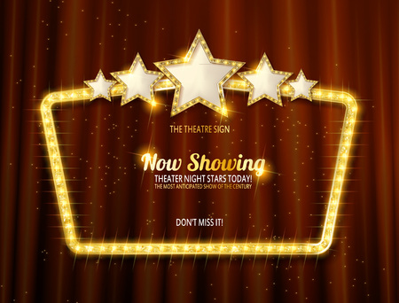 Retro frame with five stars and spots and blank billboard. Vector illustration