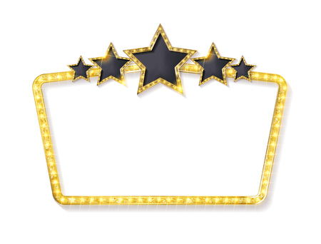 Cadre rétro avec cinq étoiles et taches et panneau d'affichage vide. Illustration vectorielle. Isolé sur fond blanc