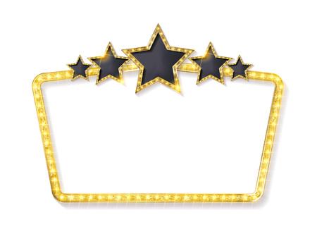 Retro frame met vijf sterren en vlekken en leeg reclamebord. Vector illustratie. Geïsoleerd op witte achtergrond