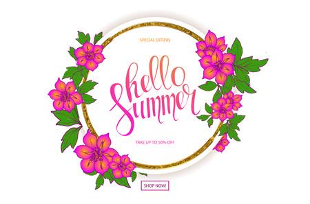 Beautiful illustration of a floral frame for Spring Season, Typography Vector Illustration. Sale banner. Illustration