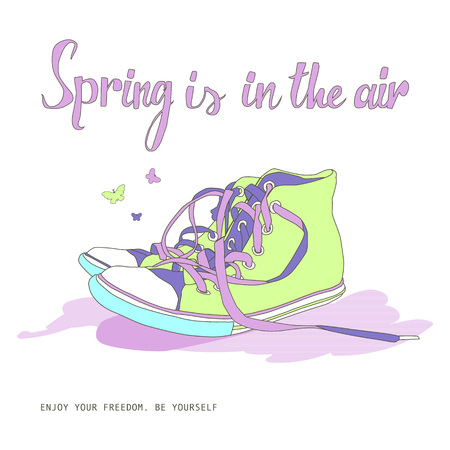 Spring is in the air. Vintage postcard with sneakers Illustration