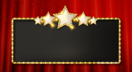 Retro frame with five stars and spots and blank billboard. Vector illustration. On the background of a red curtain.