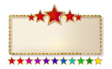 Retro cornice con cinque stelle e macchie e illustrazione vettoriale di movimento. sfondo bianco isolato. illustrazione isolato su bianco Archivio Fotografico - 75341751