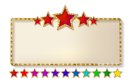 Retro frame with five stars and spots and blank billboard. Vector illustration. Isolated on white background. Horizontal.