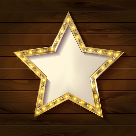 Gold star on wooden background. Vector illustration in vintage style.