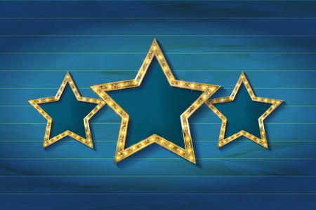 awarded: Retro light sign. Three gold stars on wooden background. Vintage style banner. Vector illustration