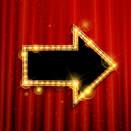 inform information: Vector marquee arrow symbol. On the background of the red curtain. Vector illustration Illustration