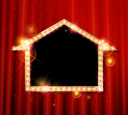 celebrities: Vector marquee arrow symbol. On the background of the red curtain. Vector illustration Illustration