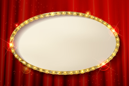 movie theater: 3d Vintage oval frame with a blank space