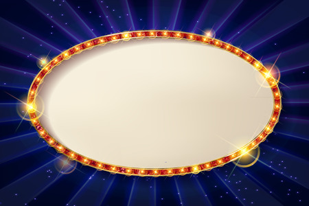 3d Vintage oval frame with a blank space for your text, messages, advertising, promotion. Gold frame with red neon light.