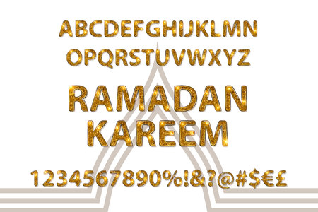 Beautiful Golden Letters And Figures Of The English Alphabet In Arabic Style Vector Illustration