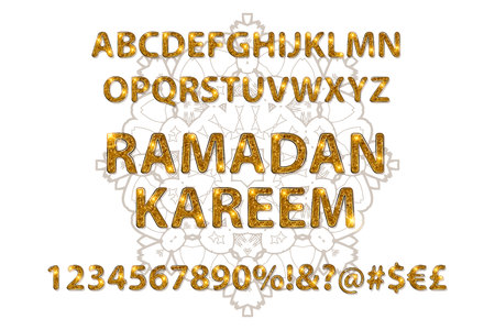Beautiful Golden letters and figures of the English alphabet in Arabic style. Vector illustration. On a white background.