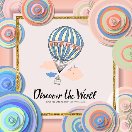 aeronautics: Discover the world. Vintage motivational postcard with balloon. Wallpaper. flyers, invitation, posters, brochure voucher discount