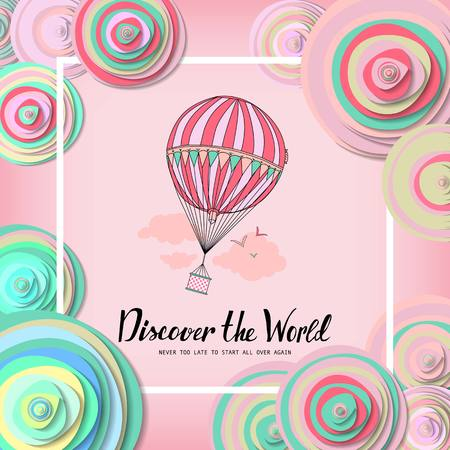 Discover the world. Vintage motivational postcard with balloon. Wallpaper. flyers, invitation, posters, brochure voucher discount