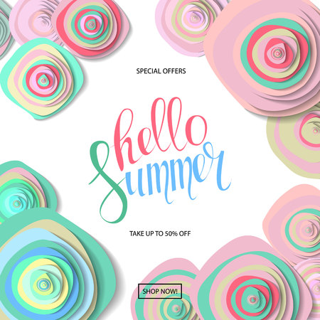 Summer sale background with beautiful colorful flower. Wallpaper. flyers, invitation, posters, brochure, voucher discount.