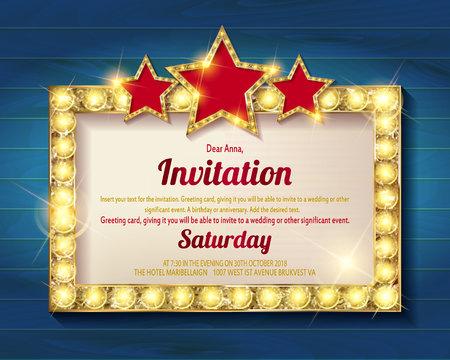 movie theater: Invitation card. Glowing Golden frame with stars. Flyers, invitation, posters, brochure, voucher discount Vector illustration