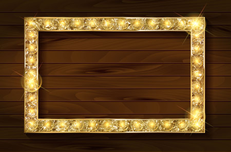 gold frame on a wooden background. Flyers, invitation, posters, brochure, voucher discount Vector illustration