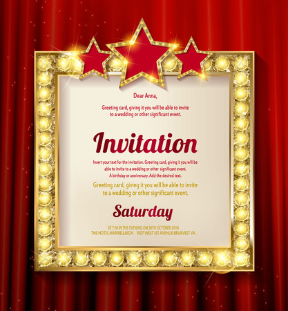 movie film: Empty golden painting frame on red curtain wall. Vector illustration