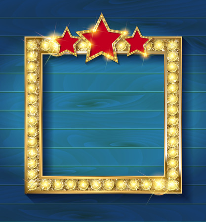 movie theater: Vector square blank cinema with three stars. On a blue wooden background Illustration