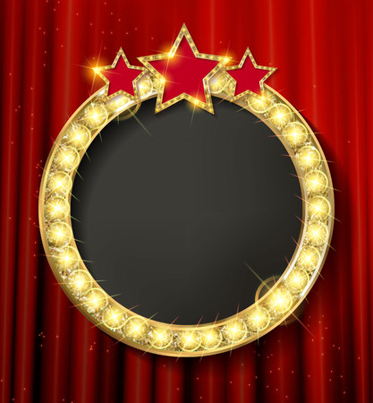 Empty golden painting round frame on red curtain wall. Vector illustration
