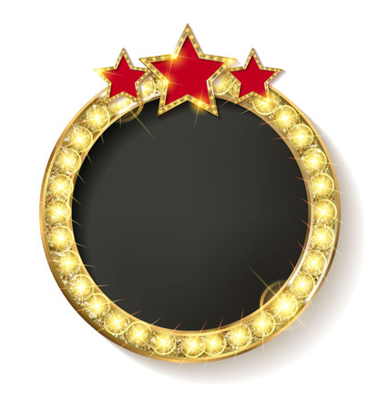 starry night: vector round blank cinema with three stars. On a white background