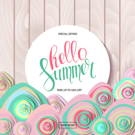 Summer sale background with beautiful colorful flower. Vector illustration template Banners. On wooden background