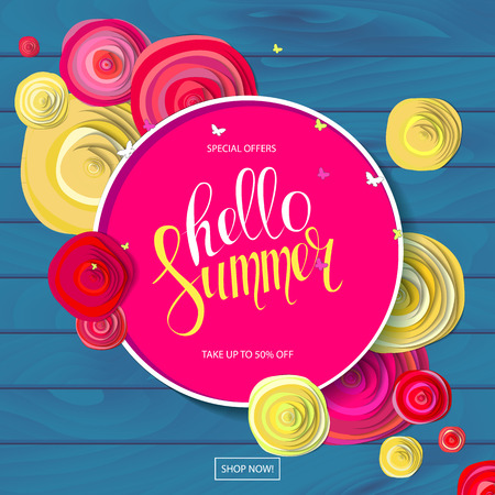 Summer sale background with beautiful colorful flower. Wallpaper. flyers, invitation, posters, brochure, voucher discount. Vector illustration template Banners. On wooden background