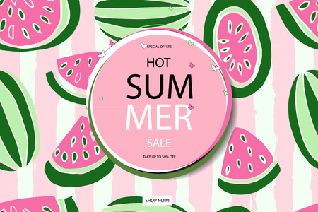 beachball: Summer sale vector banner design for promotion with colorful beach elements behind white circle in watermelon background. Vector illustration.