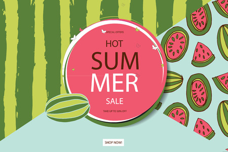 Summer sale vector banner design for promotion with colorful beach elements behind white circle in watermelon background. Vector illustration.