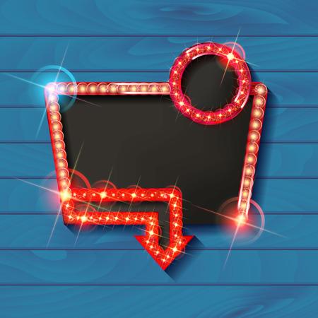 Retro light frame. Big sale. Sale and discount, business banner. Vector illustration