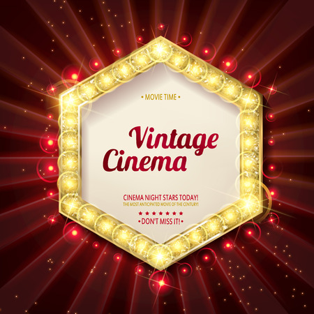 Retro light sign. Vintage style banner. Vector illustration. Gold version on the background of a red curtain