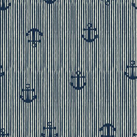 Naadloze patroon van anker en strepen. Vector illusytation Stockfoto - 80784126