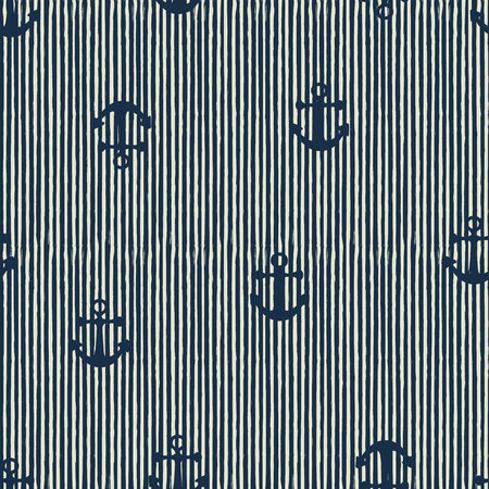 seamless pattern of anchor and stripes. Vector illusytation Çizim