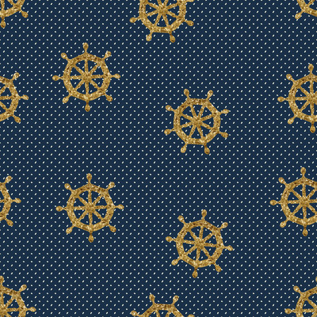continue: seamless pattern gold wheels and polka dot. Vector illustration Illustration