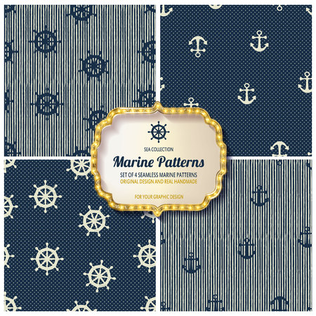 swatches: 10 different Marine seamless patterns, Swatches, vector, Endless texture can be used for wallpaper, pattern fills, web page,background,surface Illustration