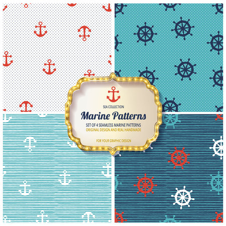 10 different Marine seamless patterns, Swatches, vector, Endless texture can be used for wallpaper, pattern fills, web page,background,surface 向量圖像