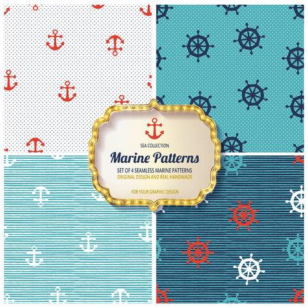 10 verschillende naadloze mariene patronen, stalen, vector, eindeloze textuur kunnen worden gebruikt voor behang, opvulpatronen, webpagina's, achtergrond, oppervlak Stockfoto - 80784378