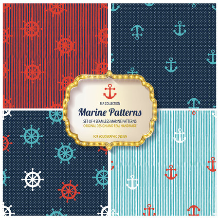 10 different Marine seamless patterns, Swatches, vector, Endless texture can be used for wallpaper, pattern fills, web page,background,surface Ilustração