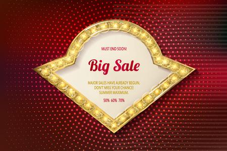 roadsign: Retro light frame. Big sale. Sale and discount, business banner. Vector illustration