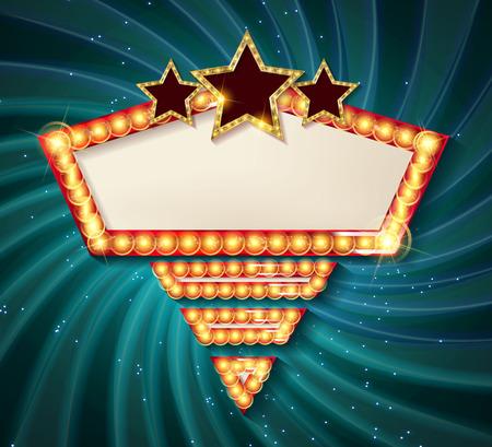 Goldener Formrahmen des Kinos mit glänzenden Glühlampen auf rotem Vorhanghintergrund. Vektor-Illustration