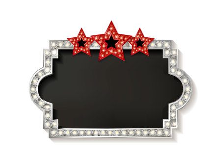 sipario chiuso: Cinema silver shape frame with shining light bulbs on wlite background with three red stars. Vector illustration