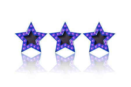 Three gold blue stars on white background. Vector illustration