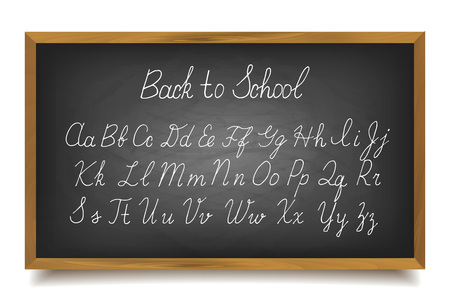 spelt: Handwritten letters of the alphabet written on a blackboard. Vector illustration Illustration