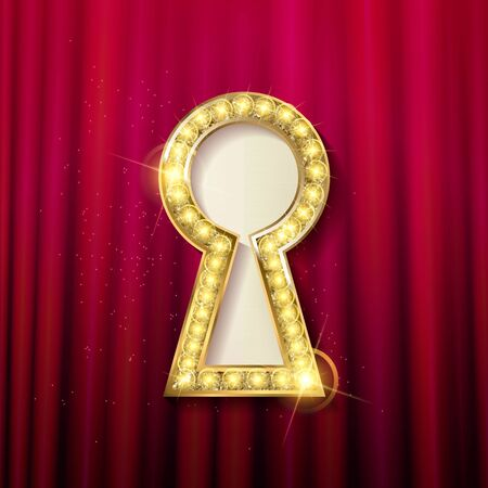 privilege: vector Golden keyhole. VIP Invitation card with sparkling background, gold key and keyhole. Vector illustration