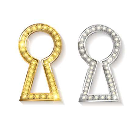 latchkey: Set of keyholes of metal. Gold, silver. Vector silhouettes
